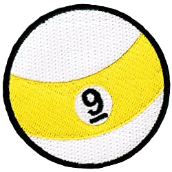 Nine Ball Embroidered Billiards Patch 9-Ball Pool Iron-On Emblem