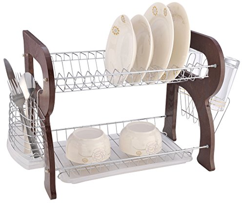 EURO-HOME 2 Tier Dish Rack, Cherry Wood