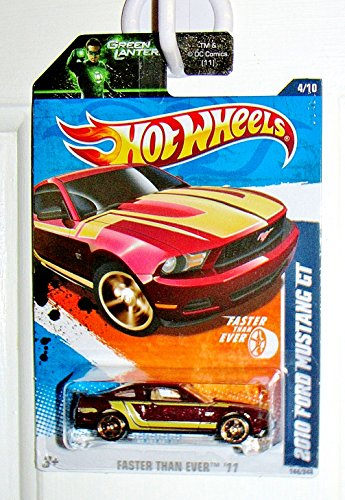 2010 - Mattel - Hot Wheels - Faster Than Ever 11 Series - 2010 Ford Mustanf GT - Metallic Maroon w/ Green Stripes - 4 of 10 - MOC - Out of Production - Collectible - 1