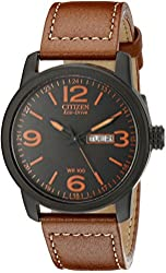 "Citizen Men's BM8475-26E ""Eco-Drive"" Stainless Steel Watch with Faux-Leather Strap"