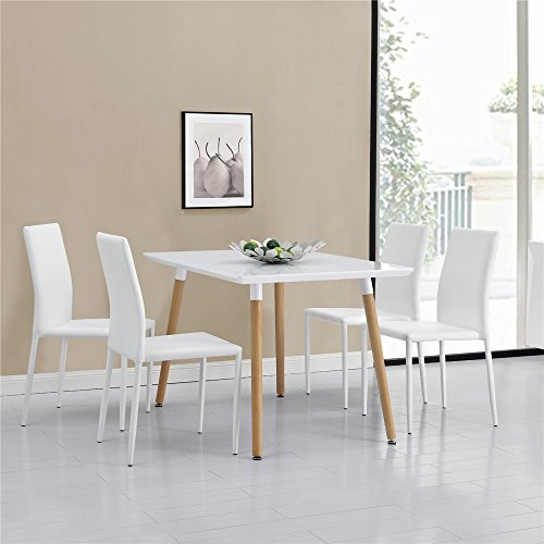Esstisch-mit-4-Sthlen-weiCRAVOG-120x80cm-Hochwertiges-Kunstleder-Polstersthle-Stapelbar-Modern-Kchentisch-Esszimmertisch-Tisch