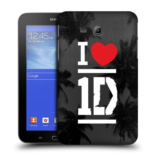 Official One Direction 1D White On Grey I Love One Direction Hard Back Case Cover for Samsung Galaxy Tab 3 Lite 7.0 T111 T110 (One Direction Samsung Tab 3 Case compare prices)