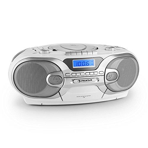 auna RCD 230 - Poste radio K7 mobile avec lecteur CD et ports USB et SD pour lecture MP3 (tuner AM/FM, bass boost) - blanc