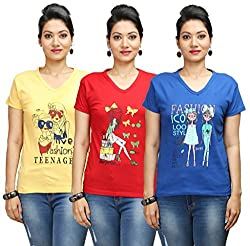 Flexicute Women's Printed V-Neck T-Shirt Combo Pack (Pack of 3)-Royal Blue, Red & Yellow Color. Sizes : S-32, M-34, L-36, XL-38