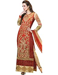 Exotic India True-Red Malaika Long Choodidaar Kameez Suit With Floral Embr - Red
