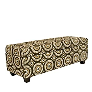 angelo:HOME Kent Storage Bench Ottoman in Modern Pinwheel Chocolate Brown