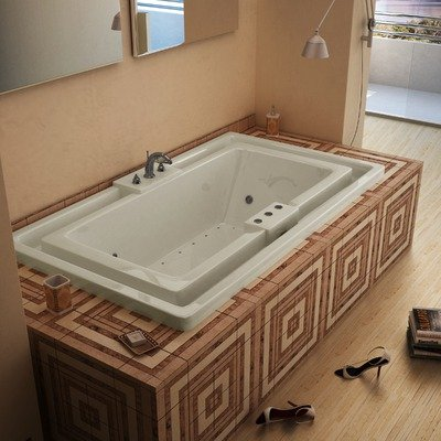 """Barbados 46 X 78 X 23"""" Endless Flow Air And Whirlpool Jetted Bathtub Color/Trim / Tile Flange / Pump: Bone / Brushed Nickel / No / Right"""