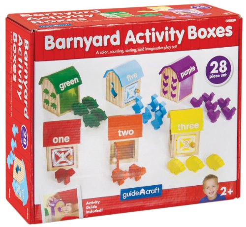 GuideCraft Kids Indoor Playschool Kindergarden Furniture Décor Accessories Set Barnyard Activity Boxes