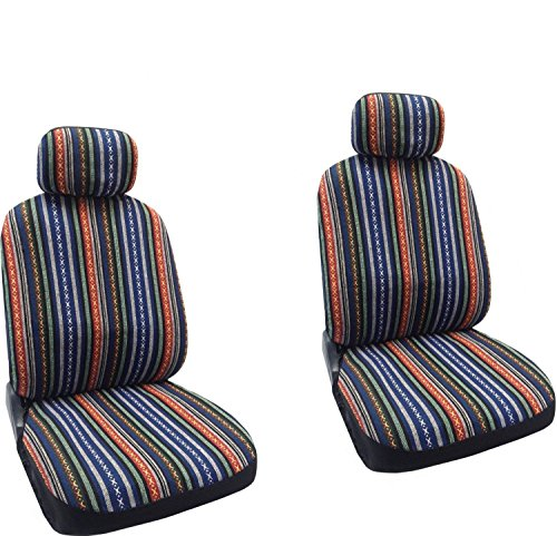 Baja Blue - Striped Saddle Blanket Front Seat Cover Pair (Blue Car Seat Covers For A Sedan compare prices)