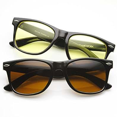 zeroUV - Blue Blocking Driving Horn Rimmed Sunglasses Amber Tinted Lens (2-Pack (Black Amber + Black Yellow))