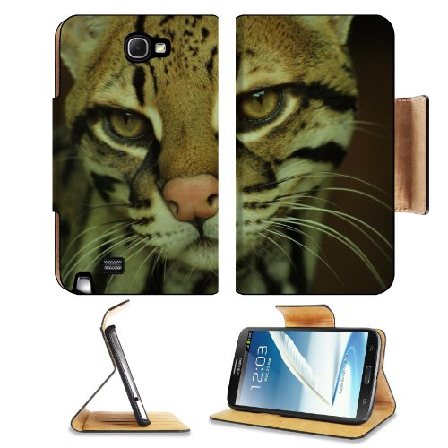 Fisher Cat Face Eyes Mottled Samsung Galaxy Note 2 N7100 Flip Case Stand Magnetic Cover Open Ports Customized Made To Order Support Ready Premium Deluxe Pu Leather 6 1/16 Inch (154Mm) X 3 5/16 Inch (84Mm) X 9/16 Inch (14Mm) Liil Note 2 Cover Professional front-657246