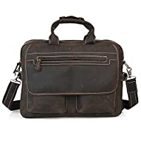 "Amango Retro Crazy Horse Leather Durable Briefcase, Fit 16"" Laptop Bag Brown A2952"