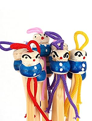 10 Pcs Manmade Bamboo Blue Doll Head Design Earwax Remover Pick Beige