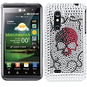 Skull Pattern Diamond Encrusted Plastic Case for LG P920 Optimus 3D