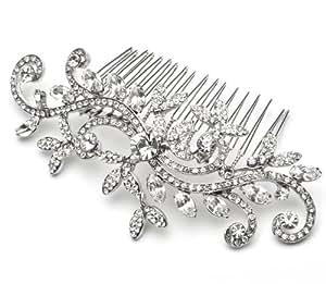USABride Vintage Bridal Hair Comb with Rhinestone Swirl Design, Wedding Headpiece 2081