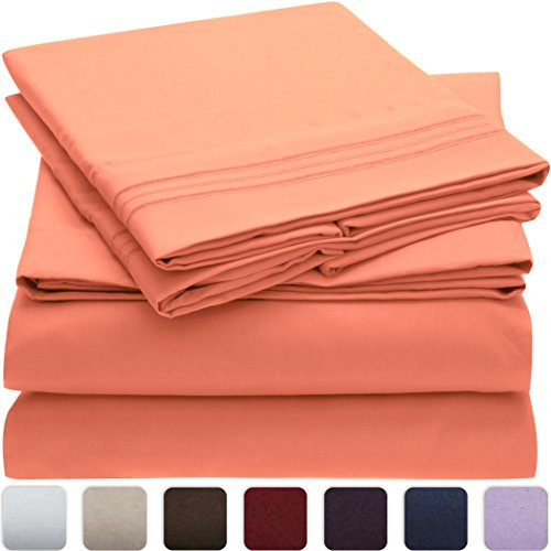Mellanni Bed Sheet Set - HIGHEST QUALITY Brushed Microfiber 1800 Bedding - Wrinkle, Fade, Stain Resistant - Hypoallergenic - 4 Piece (Queen, Coral) (Coral Sheet Set compare prices)