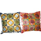 2 Yellow Vintage Silk Sari Toss Pillow Cushion Coversby Mogulinterior