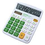 Civetta Office Desktop Calculator 12 Digits Large Plastic Buttons Dual Power Solar Electronic Calculator(Green)