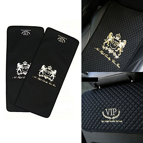 vip premium black car seat covers mat lion gold stitch logo for all motors auto vehicle. Black Bedroom Furniture Sets. Home Design Ideas