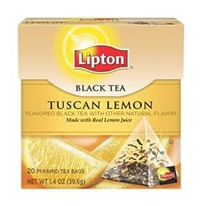Lipton Pyramid Tea Bags, Tuscan Lemon, 20-Count Tea Bags (Pack of 6)