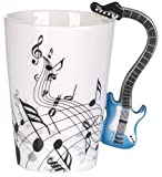 """Tazza in ceramica manico a forma di chitarra - Bianco Motivo """"Chitarra"""" 0,2l - Tazza mug ideale come regalo - Grinscard"""