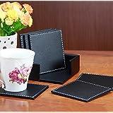 cmCasa[681] 10x10 cm Faux Leather Coaster, set of 6 (Black)
