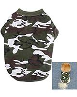 VKTECH® Manteaux d'été pour chiens Petits Violet Polyester/cotton Taille XS/S/M/L (M, Camo Vert)