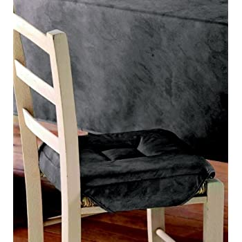 Pas cher galette de chaise 4 rabats beton cire taupe for Galette de chaise taupe