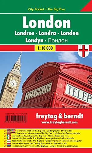 Londres City Pocket, plano callejero plastificado, de bolsillo. Escala 1:10.000. Freytag & Berndt. (City Pocket + The Big Five)