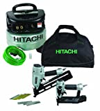 Hitachi KNT65APR 6-Gallon Pancake Compressor, 15-Gauge 2.5-Inch Angle Finish Nailer and 18-Gauge 2-Inch Angle Brad Nailer Combo Kit, 3-Pack