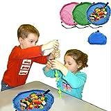 hibote portátiles Juguete pequeña bolsa de almacenamiento Kids Play Mat juega al organizador para el hogar de la comida campestre del coche 45cm (Azul)