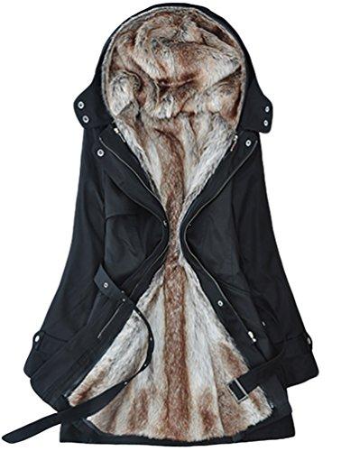LvRao Cappotto Parka per Donna Lungo Giubbotti Invernali Cappotti con Pelliccia Cappotto con Cappuccio # Nero S