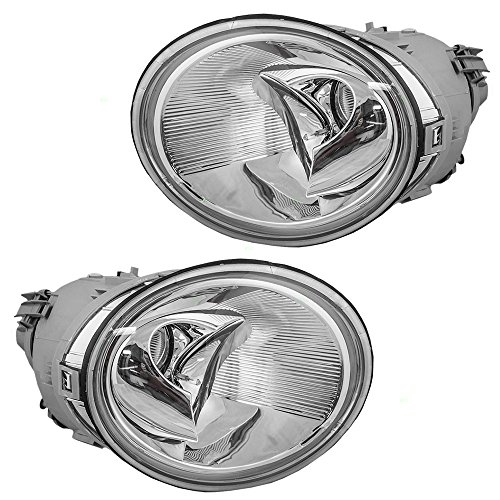 Driver and Passenger Halogen Headlights Headlamps Replacement for Volkswagen 1C0 941 029 K 1C0 941 030 K (2001 Beetle Headlight Cover compare prices)
