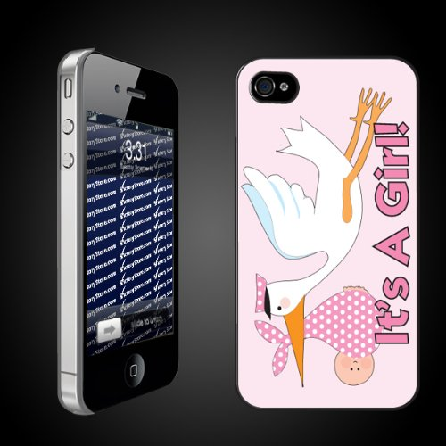 New Baby iPhone Design Its a Girl Stork   CLEAR iPhone Hard Case   Protective iPhone 4/iPhone 4S Case