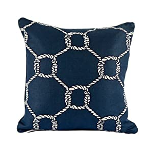 Room Service Nautical Collection Nautical Rope Pillow, 20-inch x 20-inch, Navy Blue/White