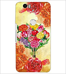 PrintDhaba Bouquet D-2897 Back Case Cover for HUAWEI NEXUS 6P (Multi-Coloured)