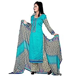 Meera Women's Cotton Unstitched Dress Material (PB6_Blue)