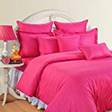 SRP Linen 500-Thread-Count Super Soft Zipper Closure Designer 3-Piece Luxury Duvet Cover Set Queen Stripe Hot Pink