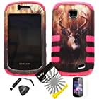4 items Combo: ITUFFY LCD Screen Protector Film + Mini Stylus Pen + Case Opener + Outdoor Wild Deer Grass Camouflage Design Rubberized Hard Plastic + PINK Soft Rubber TPU Skin Dual Layer Tough Hybrid Case for Straight Talk Samsung Galaxy Proclaim 720C SCH-S720C / Verizon Samsung Illusion i110