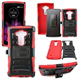 Mstechcorp - Defender Rugged Impact Armor Hybrid Kickstand Cover with Belt Clip Holster Case For LG G Vista VS880 (Verizon / AT&T) - Includes [Wall Charger Data Cable] + [Car Charger Data Cable] + [Touch Screen Stylus] + [2 Data Cables] + [Hands Free Earphone] (H RED)