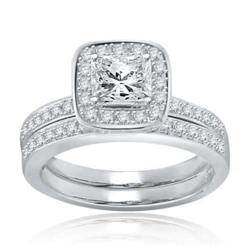 Sterling Silver Simulated Diamond Wedding Set-1.25ct