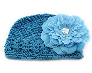 BONAMART ® Blue Peony Hair Big Flower Clip + Crochet Cap Hat for Baby Todder Girl boy