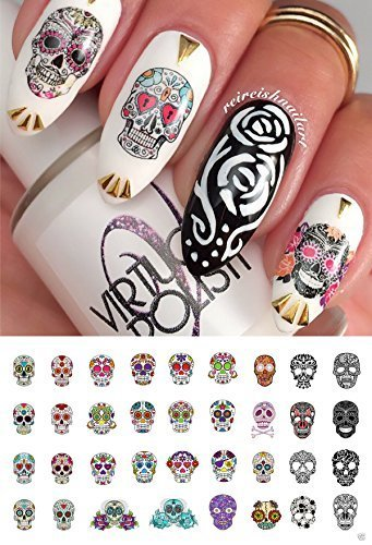 Sugar Skull Nail Art Day of the Dead Decals Assortment #2 - Featured in Rachael Ray Magazine October 2014! by Moon.Sugar.Decals