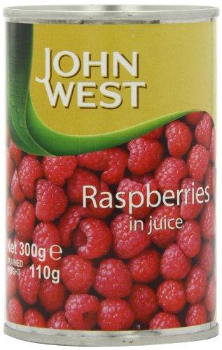 John West Raspberries in Fruit Juice 290 g (Pack of 12)