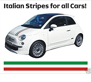 Amazon.com: Fiat 500 bonnet decal stripes Italian flag 100cm (green Ð