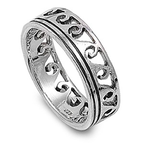 Rhodium Plated Sterling Silver Wedding & Engagement Ring Wave Pattern Band 7MM ( Size 6 to 13) Size 12