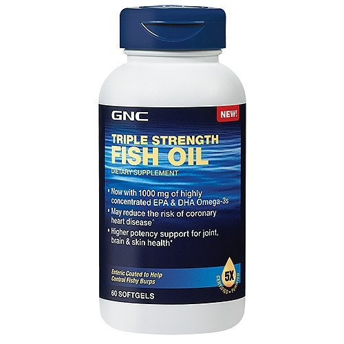 GNC Triple Strength Fish Oil Dietary Supplememt, 1000mg, 60 softgels (Triple Strength Fish Oil 1500 compare prices)