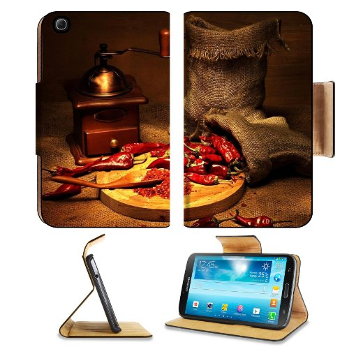 Pepper Red Coffee Grinder Sharp Chile Bags Samsung Galaxy Tab 3 8.0 Flip Case Stand Magnetic Cover Open Ports Customized Made To Order Support Ready Premium Deluxe Pu Leather 8 7/16 Inch (215Mm) X 5 6/8 Inch (145Mm) X 11/16 Inch (17Mm) Liil Galaxy Tab3 Ca