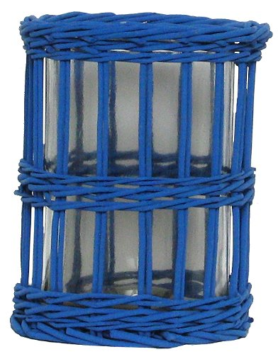 """Traders & Co. Hand Woven Marine Blue Painted Willow Basket with Large Glass Cylinder Candle Shade 8""""D x 9""""H Set/2 at Sears.com"""
