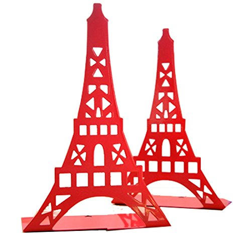 Cute Eiffel Tower Desk Holder Book Organizer Metal Decorative Bookend (Red)